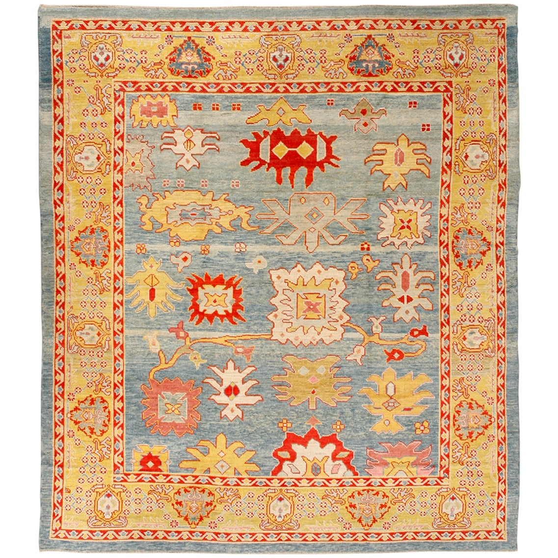 Turkish Old Wool Oushak Rug At 1stdibs