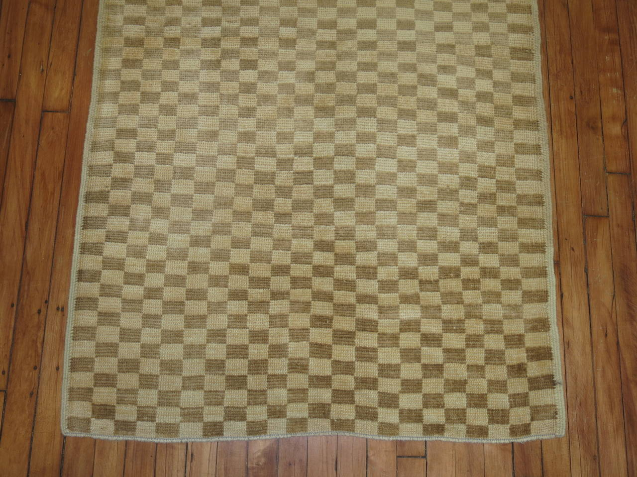 Chesterfield Vintage Midcentury Turkish Checkerboard Rug For Sale