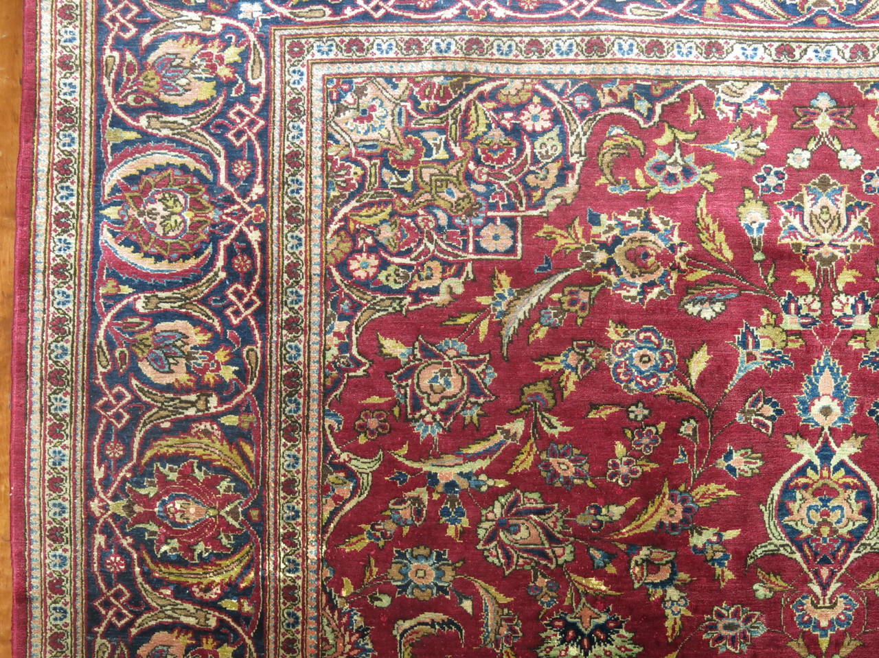 A Classic antique Persian silk on wool rug woven in city of Kashan. KPSI 400.