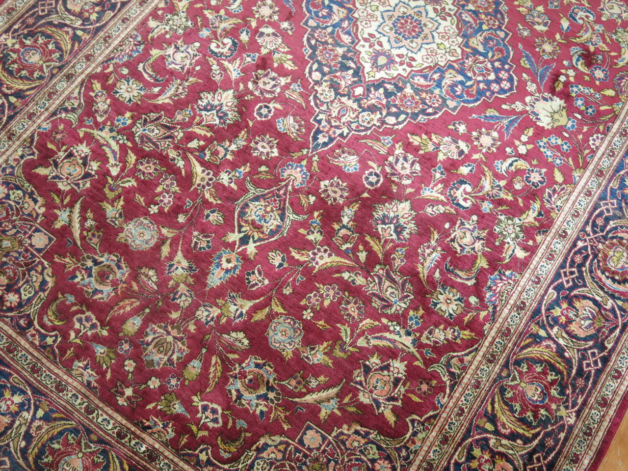 Cotton Antique Persian Silk Area Rug For Sale
