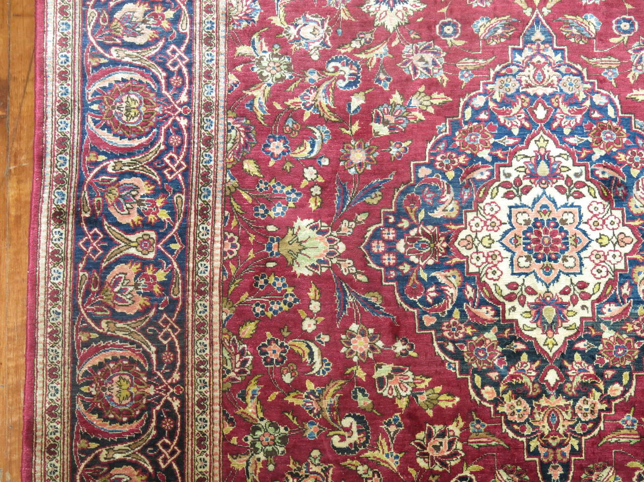 Early Victorian Antique Persian Silk Area Rug For Sale