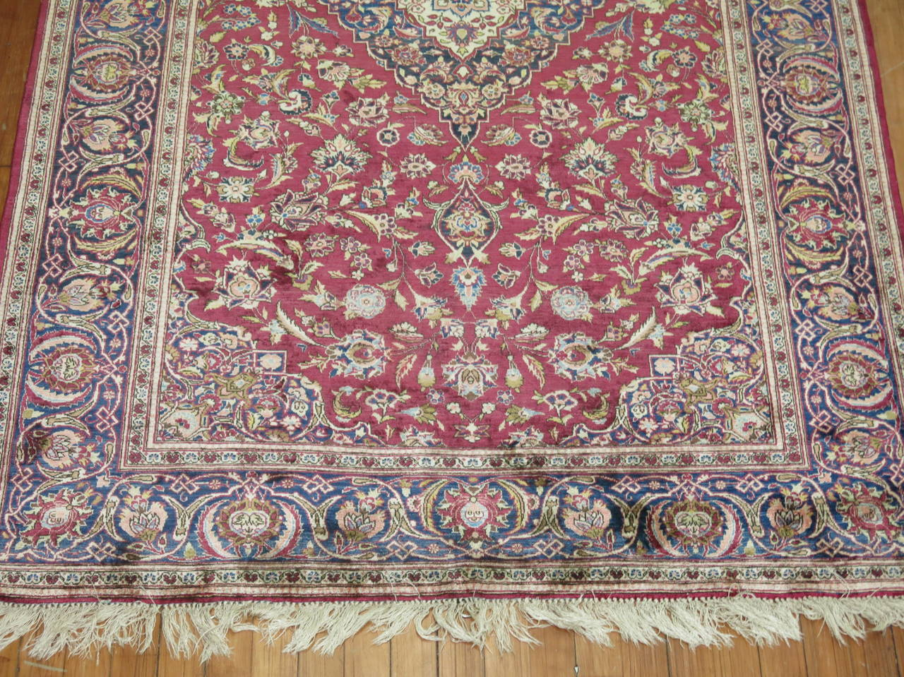 Antique Persian Silk Area Rug For Sale 1