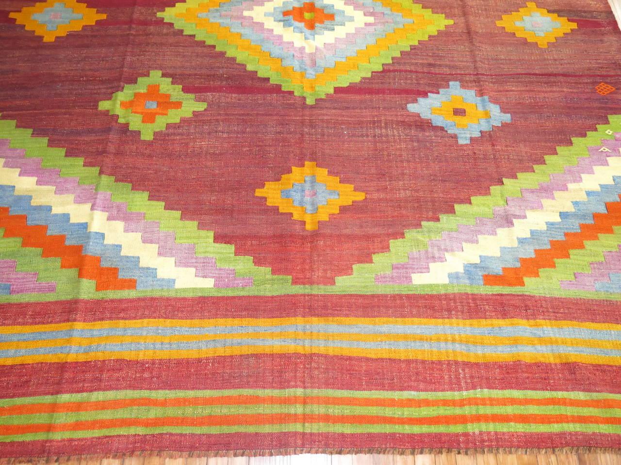 Hand-Knotted Vintage Turkish Kilim Flat-Weave Carpet For Sale
