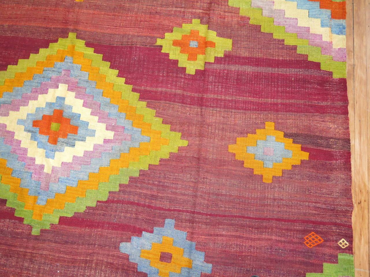 Adirondack Vintage Turkish Kilim Flat-Weave Carpet For Sale