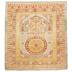 Square-Size Vintage Wool Khotan Rug