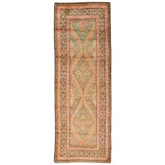 Pink and Green Vintage Karabagh Runner