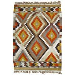 Vintage Geometric Turkish Kilim Flat-Weave