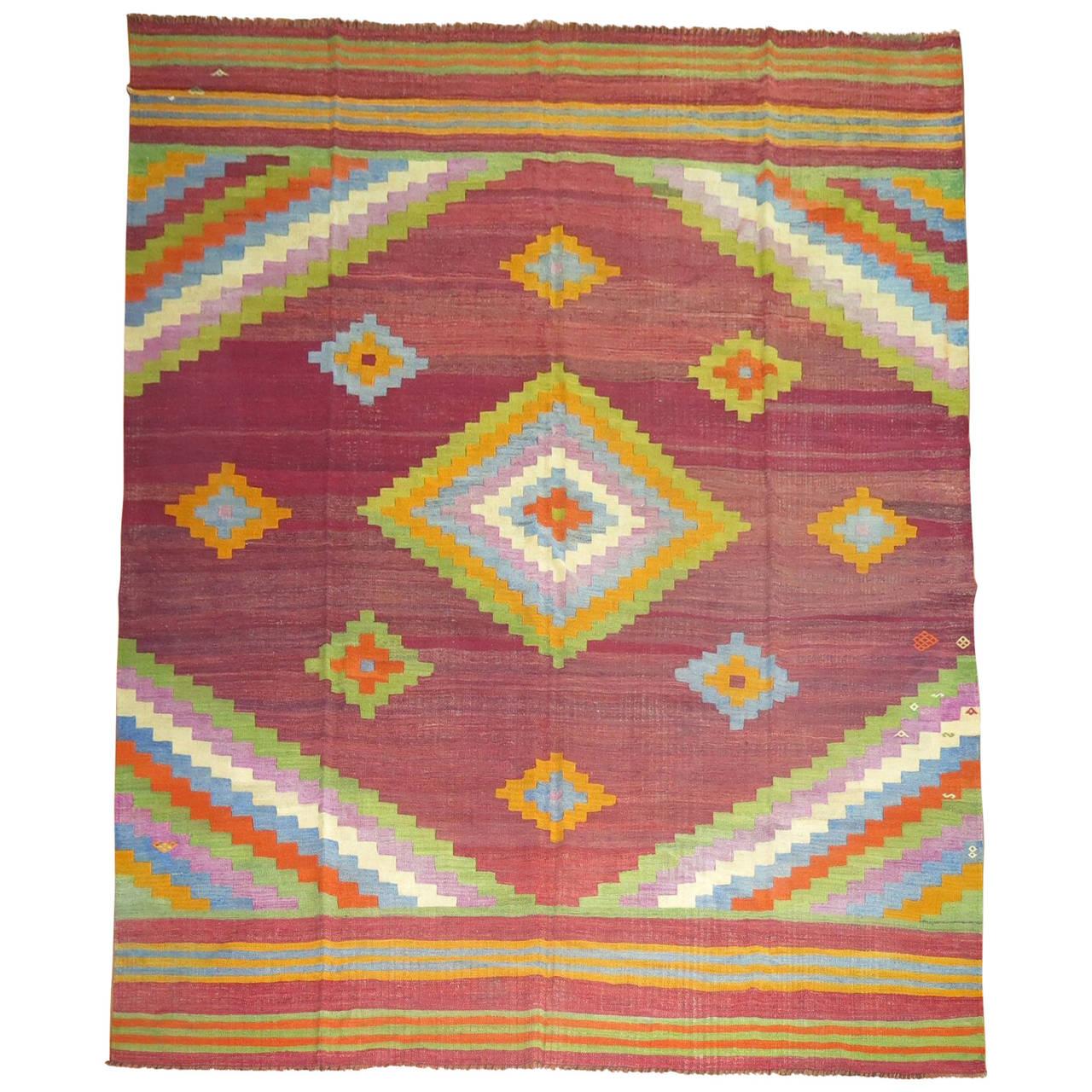 Vintage Turkish Kilim Flat-Weave Carpet For Sale