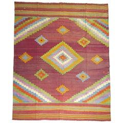 Vintage Turkish Kilim Flat-Weave Carpet