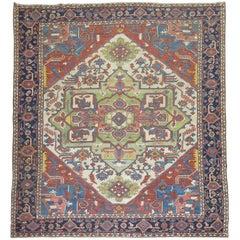 Colorful Antique Serapi Heriz Carpet
