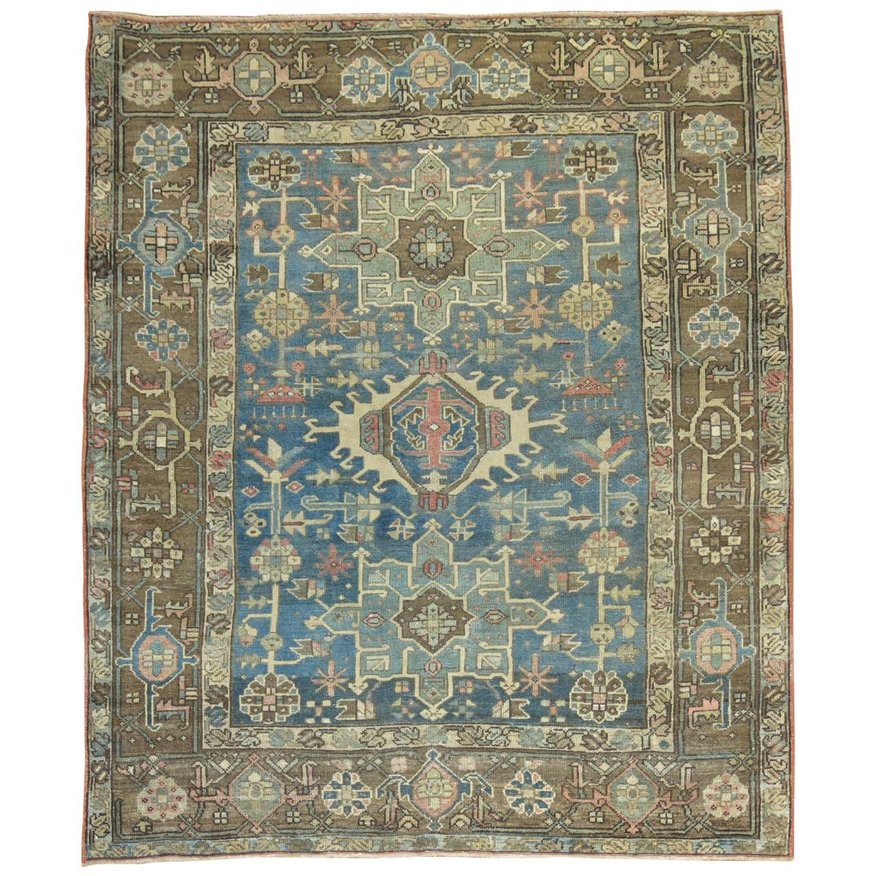 Persian Rugs For Sale: Blue Persian Heriz Karadja Rug At 1stdibs