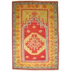 Vintage Turkish Tulu Rug with Prayer Niche Motif