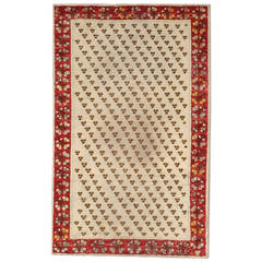Ivory Field Turkish Ghiordes Rug