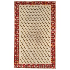 Wool 20th Century Handmade Ivory Field Red Turkish Ghiordes Scatter Rug