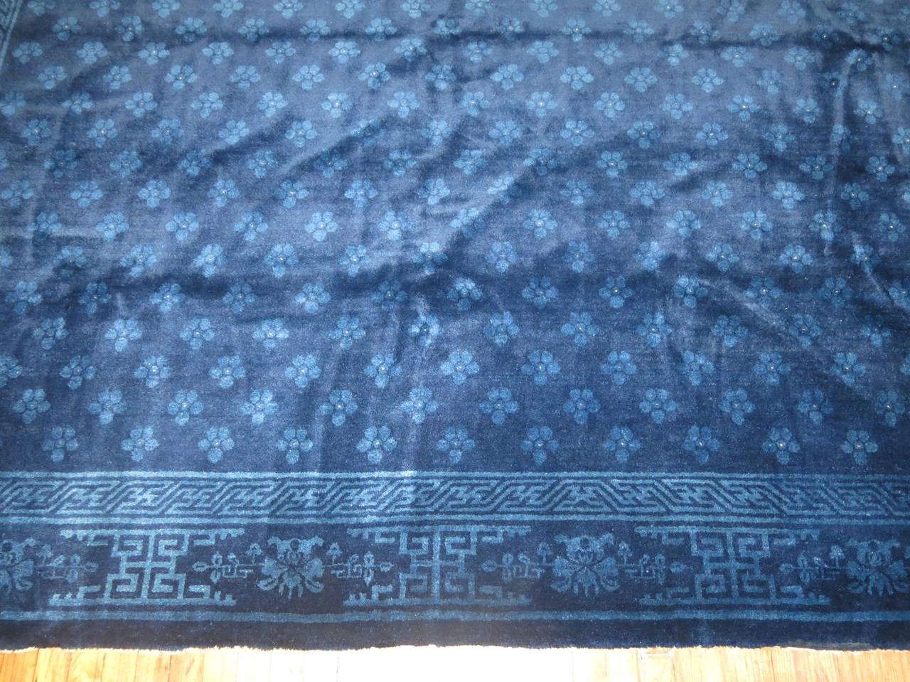 Chinese Peking Cobalt Blue Carpet At 1stdibs