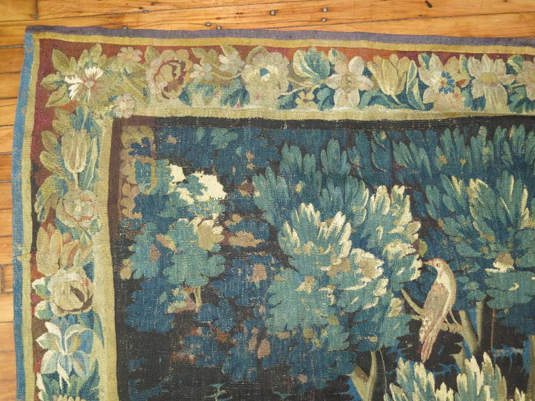 French 18th Century Flemish Verdure Tapestry For Sale