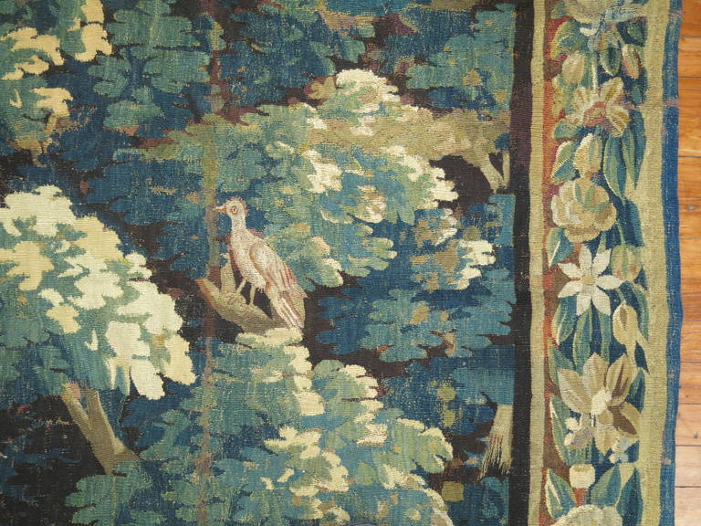 Wool 18th Century Flemish Verdure Tapestry For Sale