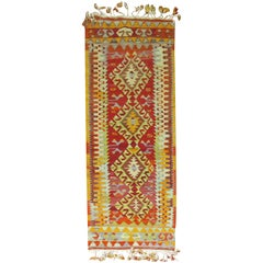 Narrow Kilim Runner in Bright Red and Green