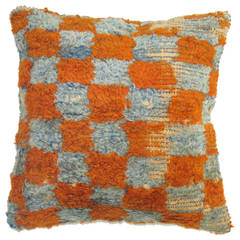 Pair of Turkish Rug Pillow with Checkerboard Motif
