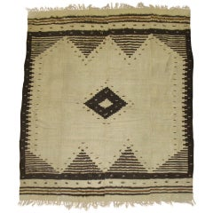 Vintage Turkish Mohair Rug in Ivory and Black