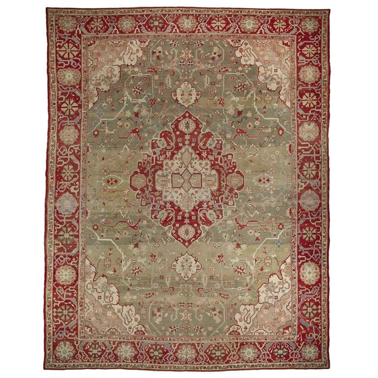 Antique Turkish Oushak Kula Carpet