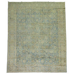 Antique Pale Blue Persian Tabriz Rug