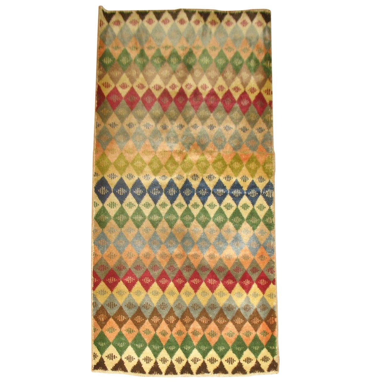 Vintage Turkish Geometric Anatolian Rug For Sale At 1stdibs