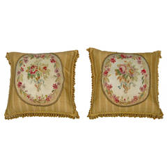 Pair of 18th Century Fortuny French Aubusson Pillows