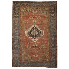 Antique Persian Bakshaish Carpet in Rustic Tones