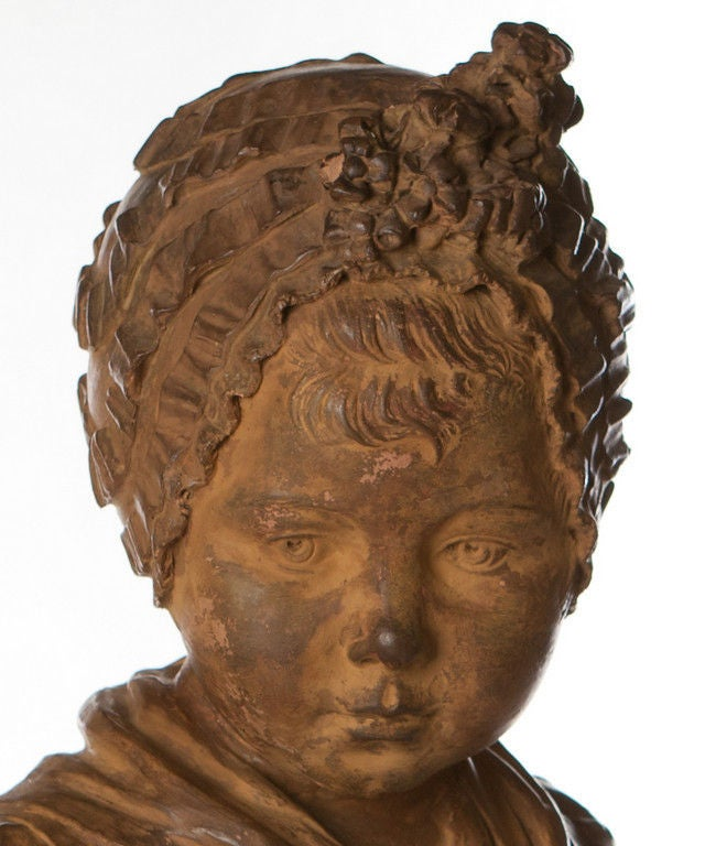 Louis XVI Style Terracotta Bust Wood Pedestal