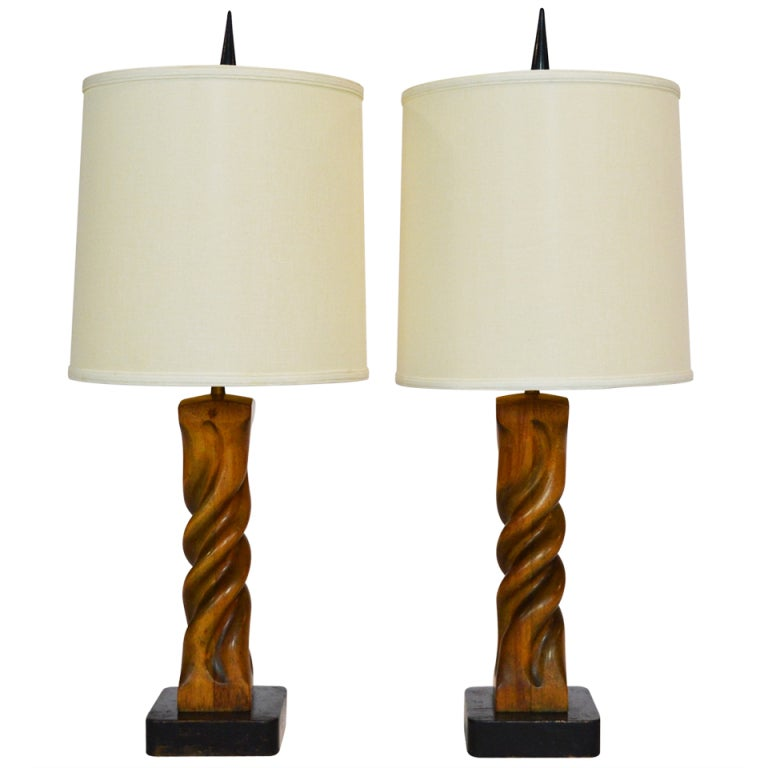 Pair of Heifetz Sculptural Table Lamps
