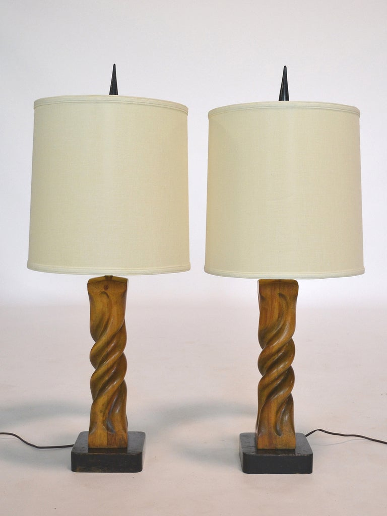 Pair of Heifetz Sculptural Table Lamps For Sale 3