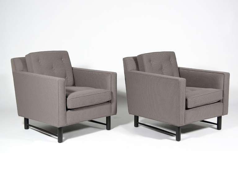 Pair of Edward Wormley Lounge Chairs by Dunbar For Sale 2