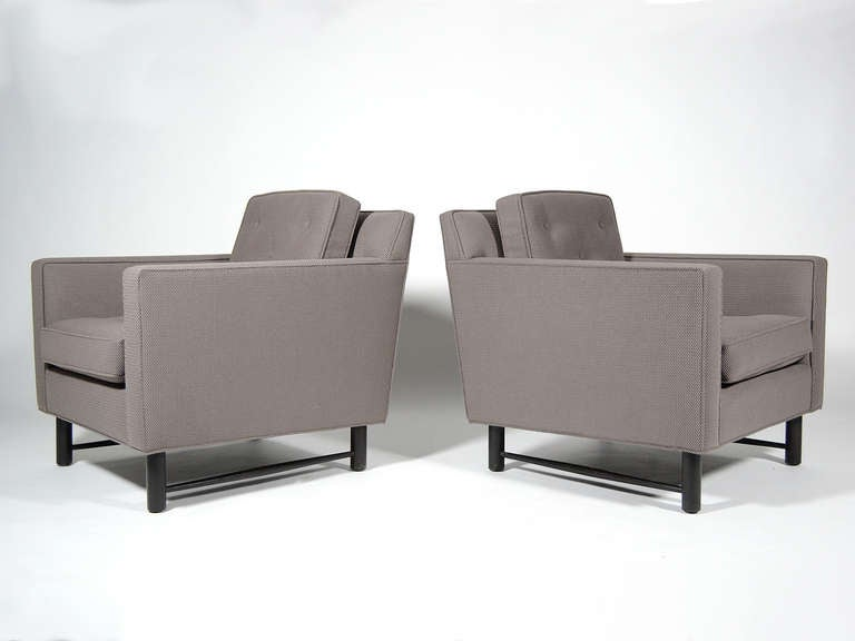 Pair of Edward Wormley Lounge Chairs by Dunbar For Sale 3