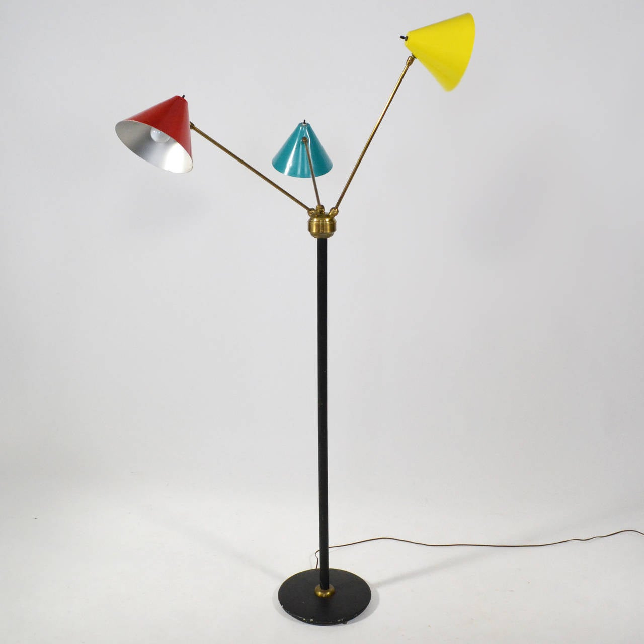 Enameled Italian Three-Arm Floor Lamp For Sale
