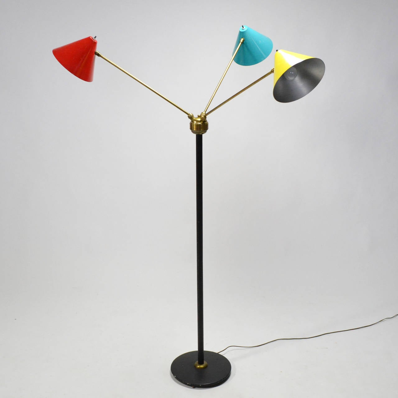 Italian Three-Arm Floor Lamp In Good Condition For Sale In Highland, IN