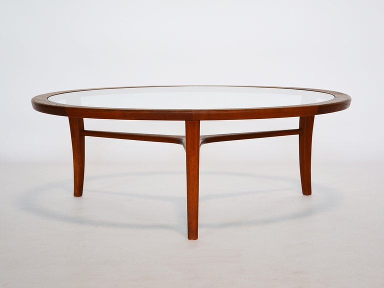Danish Coffee Table In Teak With Glass Top at 1stdibs