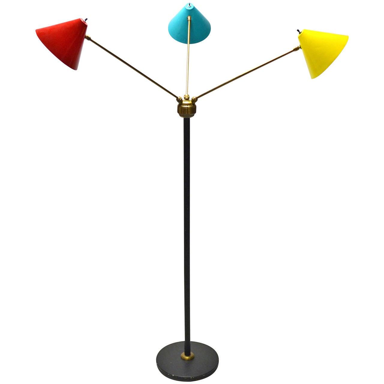 italian three arm floor lamp at 1stdibs. Black Bedroom Furniture Sets. Home Design Ideas