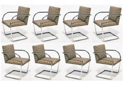 Set of Eight, Ten or 12 Mies Van Der Rohe Tubular Brno Chairs by Knoll