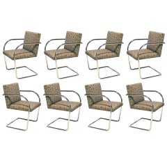 Set of 8, 10 or 12 Mies van der Rohe tubular Brno chairs by Knoll