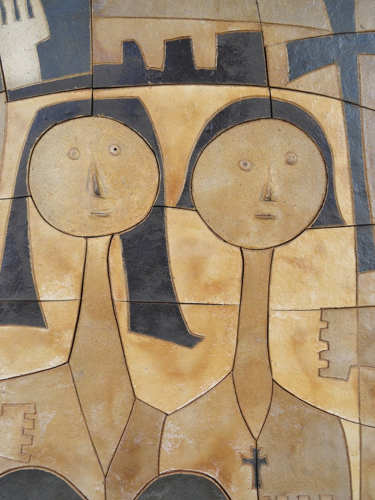 Mid-Century Modern Ceramic Wall Relief by Clyde Burt For Sale