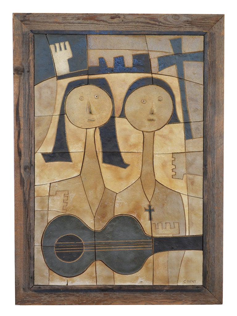 Ceramic Wall Relief by Clyde Burt In Good Condition For Sale In Highland, IN