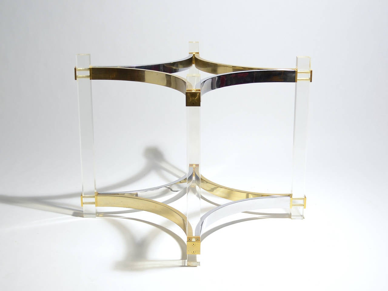 Alessandro Albrizzi Dining Table Bases In Lucite Brass And Chrome For Sale