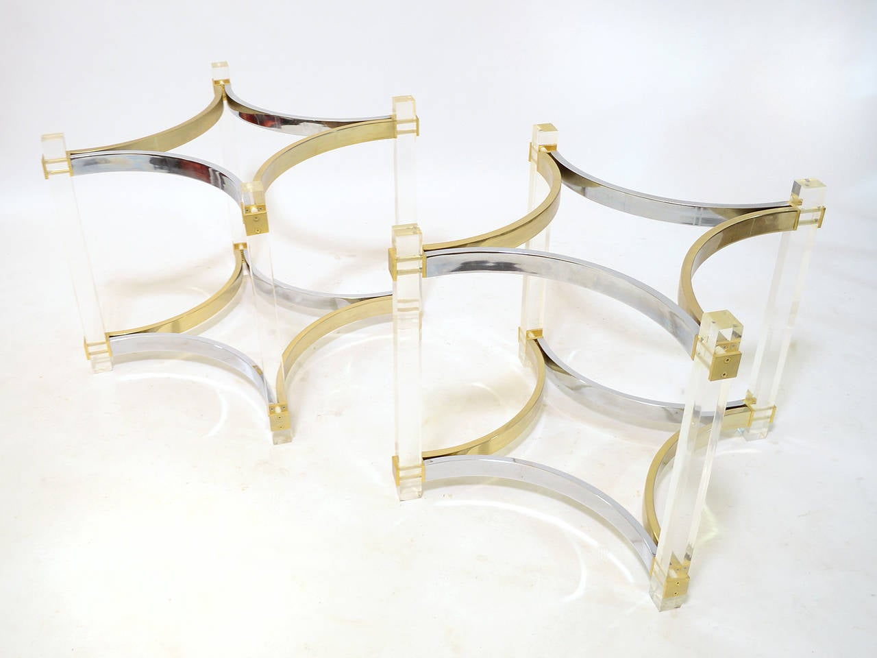 Albrizzi Dining Table Bases In Lucite Brass And Chrome At 1stdibs