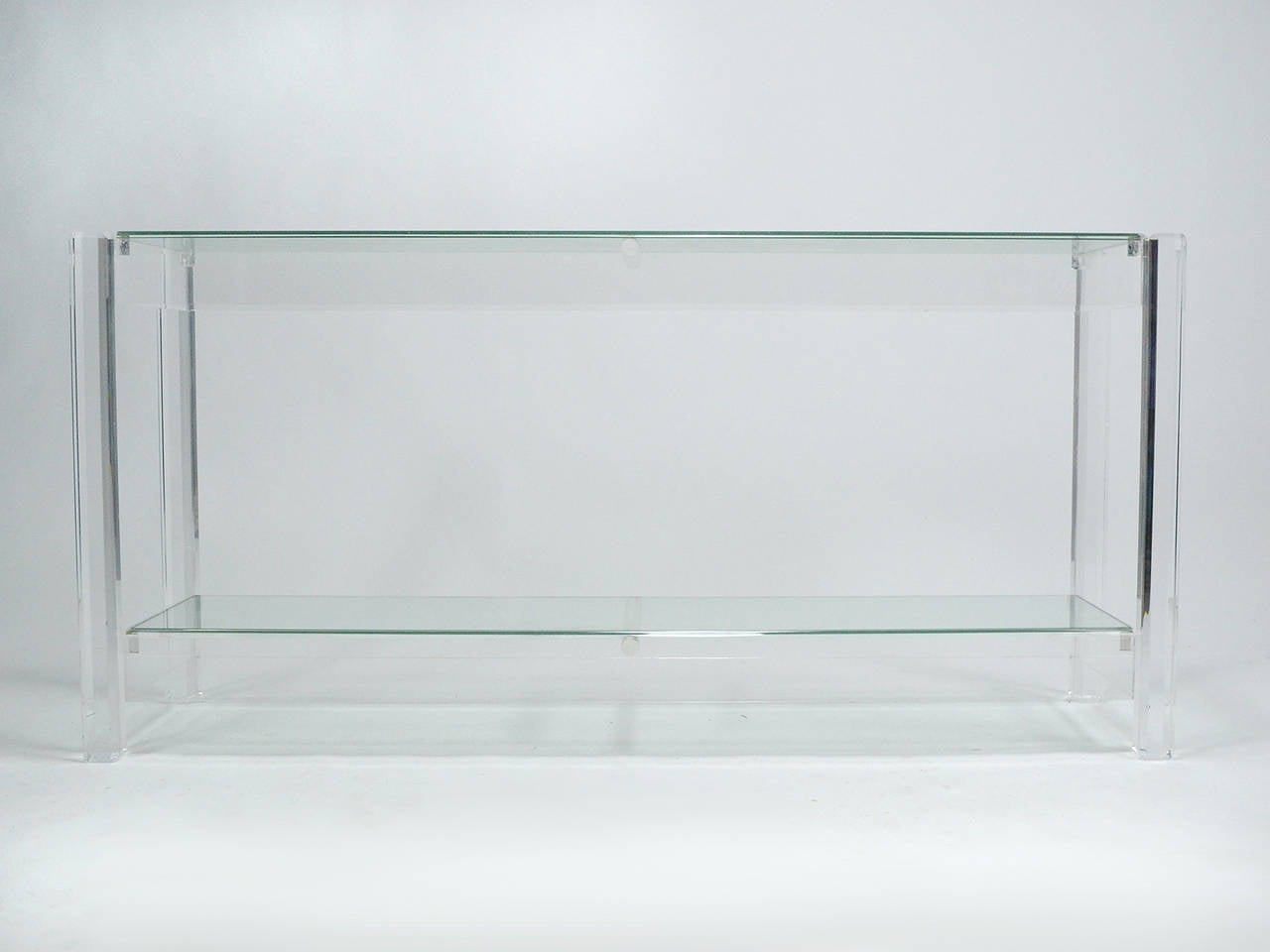 Lucite And Glass Console Table At 1stdibs