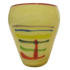 Large Art Glass Vase With Linear Design