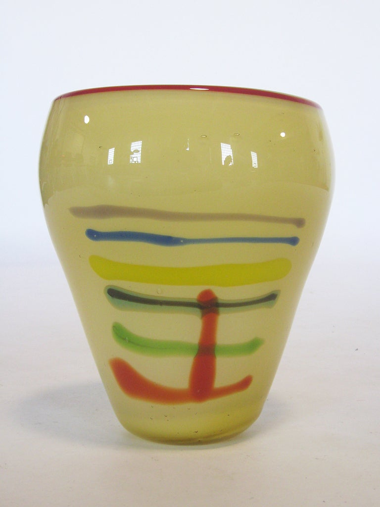 Large Art Glass Vase With Linear Design 3