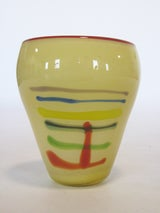 Large Art Glass Vase With Linear Design image 3