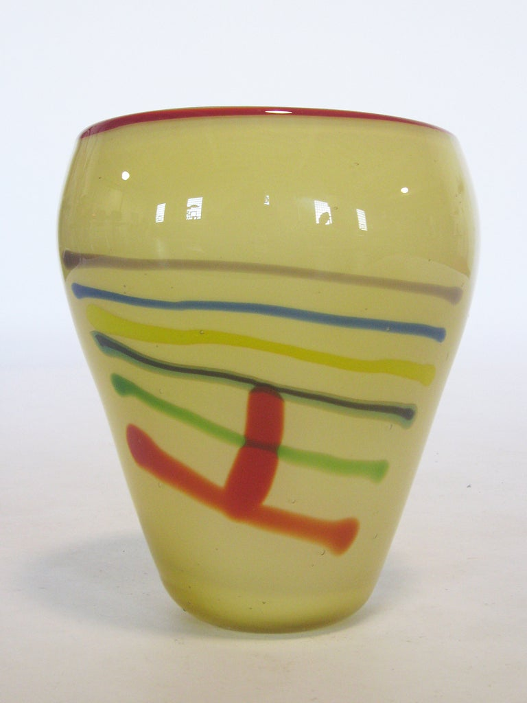Large Art Glass Vase With Linear Design 4