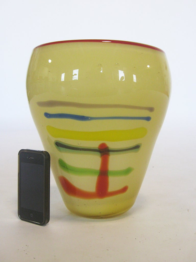 Large Art Glass Vase With Linear Design 7